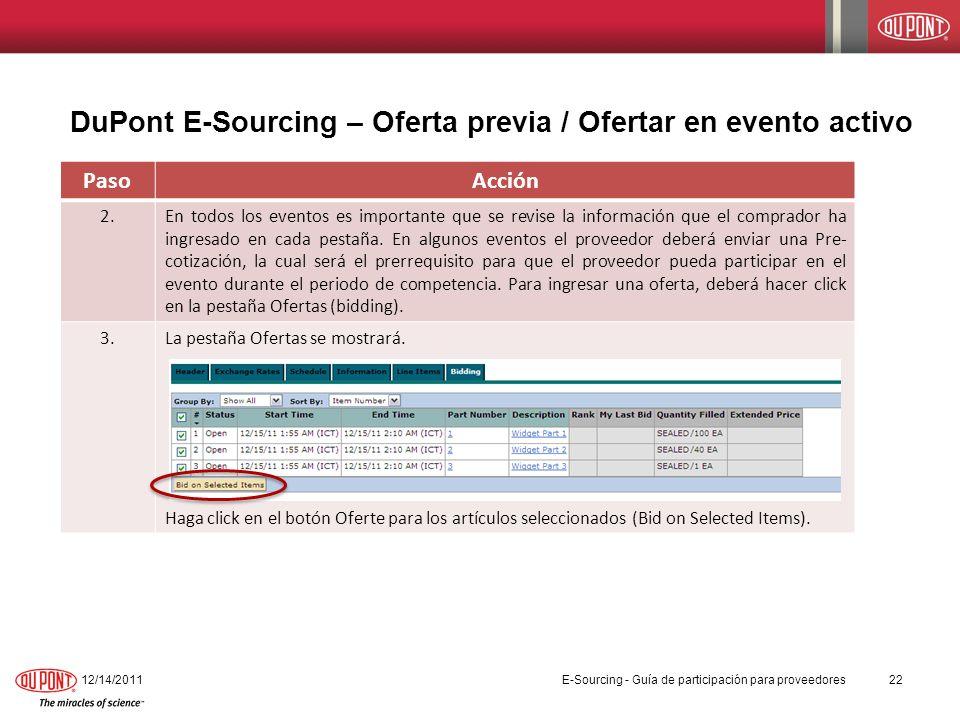 DuPont E-Sourcing – Oferta previa / Ofertar en evento activo
