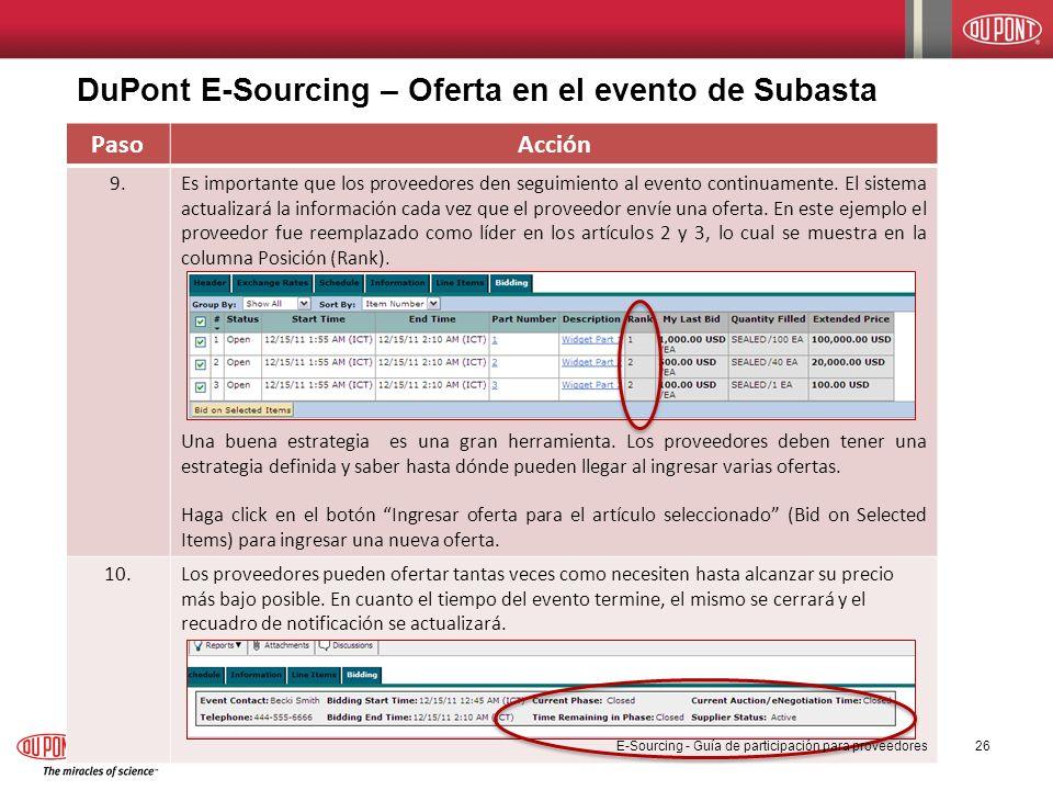 DuPont E-Sourcing – Oferta en el evento de Subasta