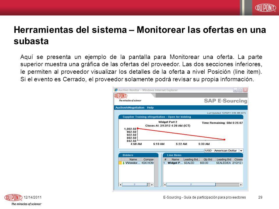 Herramientas del sistema – Monitorear las ofertas en una subasta