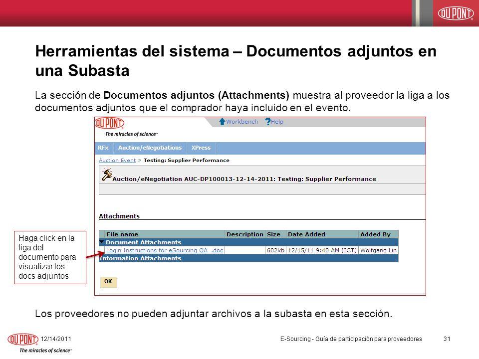 Herramientas del sistema – Documentos adjuntos en una Subasta