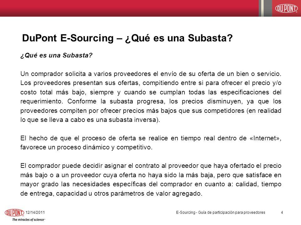 DuPont E-Sourcing – ¿Qué es una Subasta