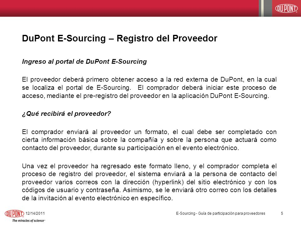 DuPont E-Sourcing – Registro del Proveedor