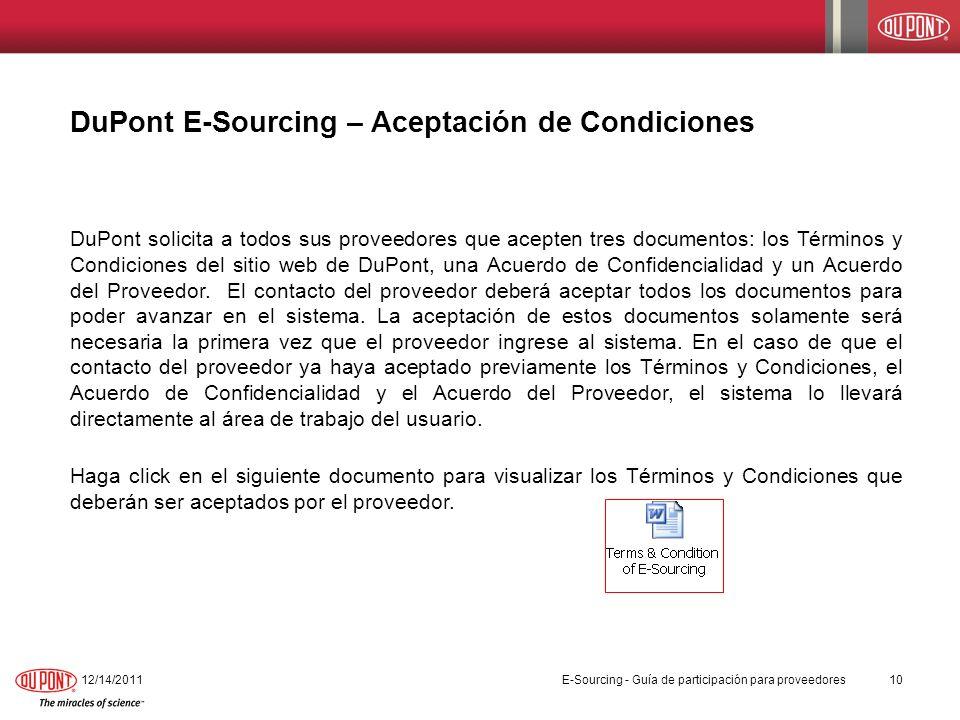 DuPont E-Sourcing – Aceptación de Condiciones