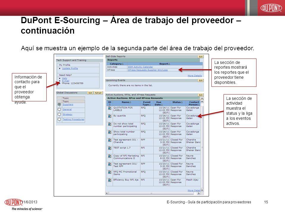 DuPont E-Sourcing – Área de trabajo del proveedor – continuación