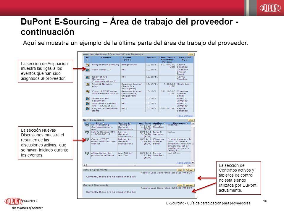 DuPont E-Sourcing – Área de trabajo del proveedor - continuación