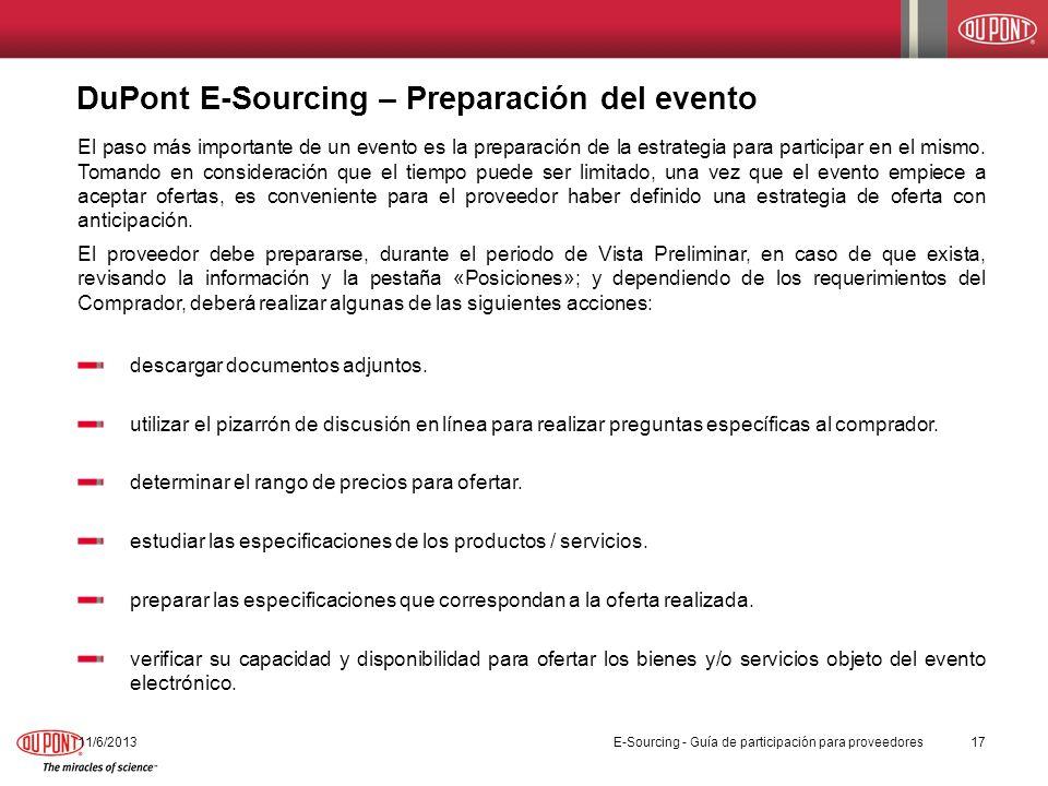 DuPont E-Sourcing – Preparación del evento