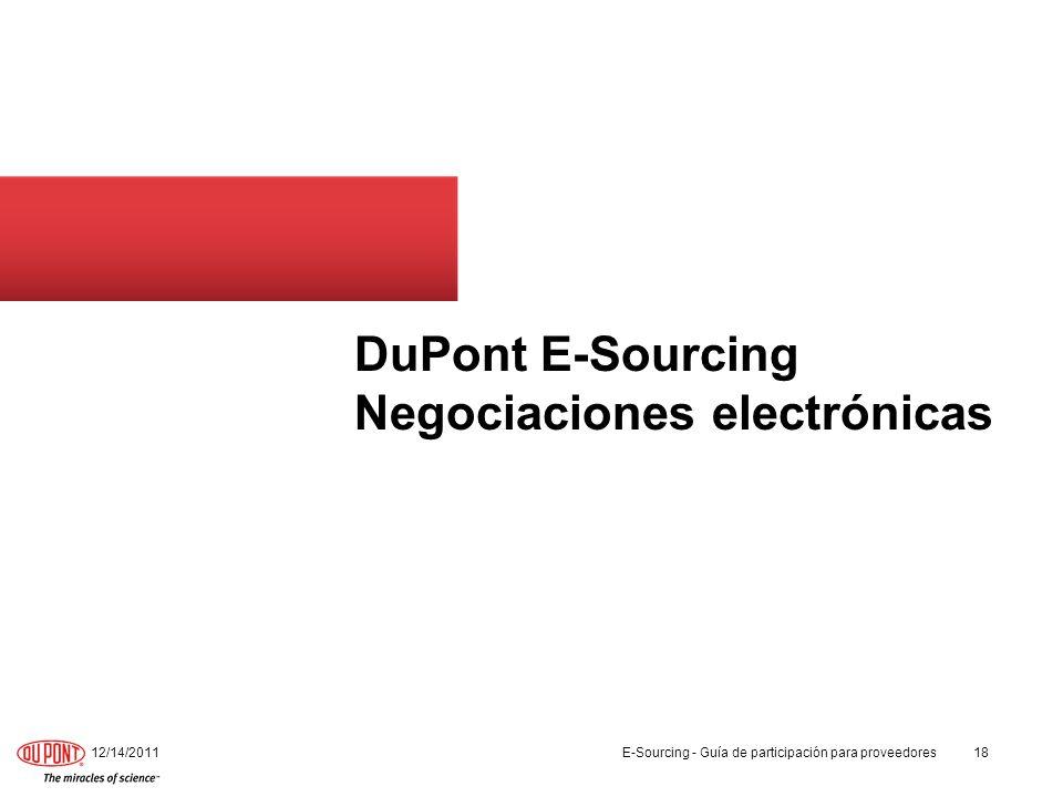 DuPont E-Sourcing Negociaciones electrónicas