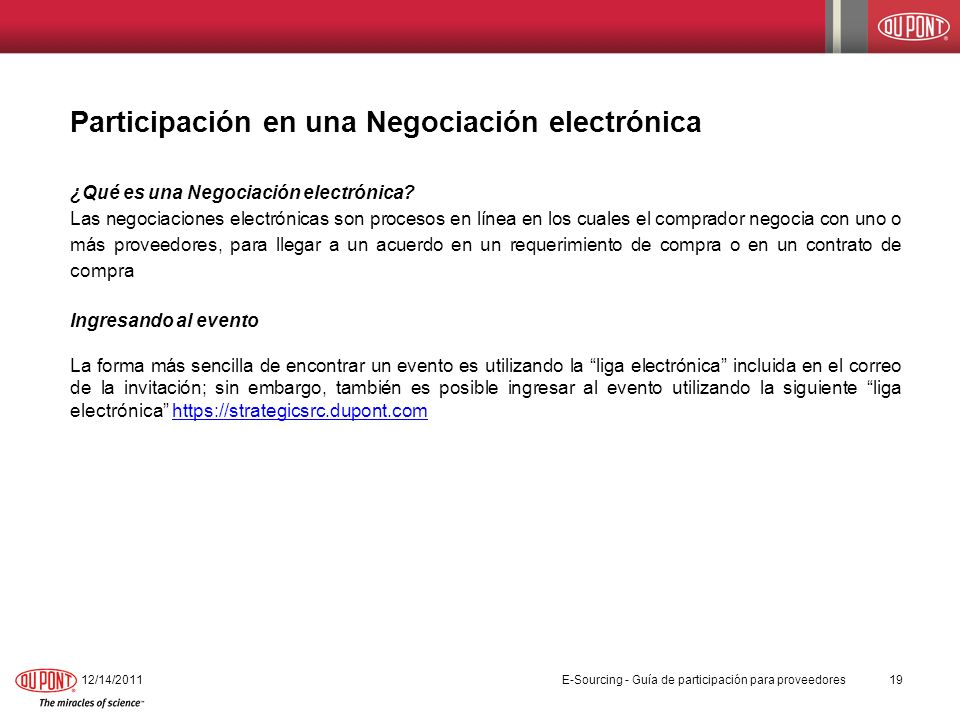 Participación en una Negociación electrónica