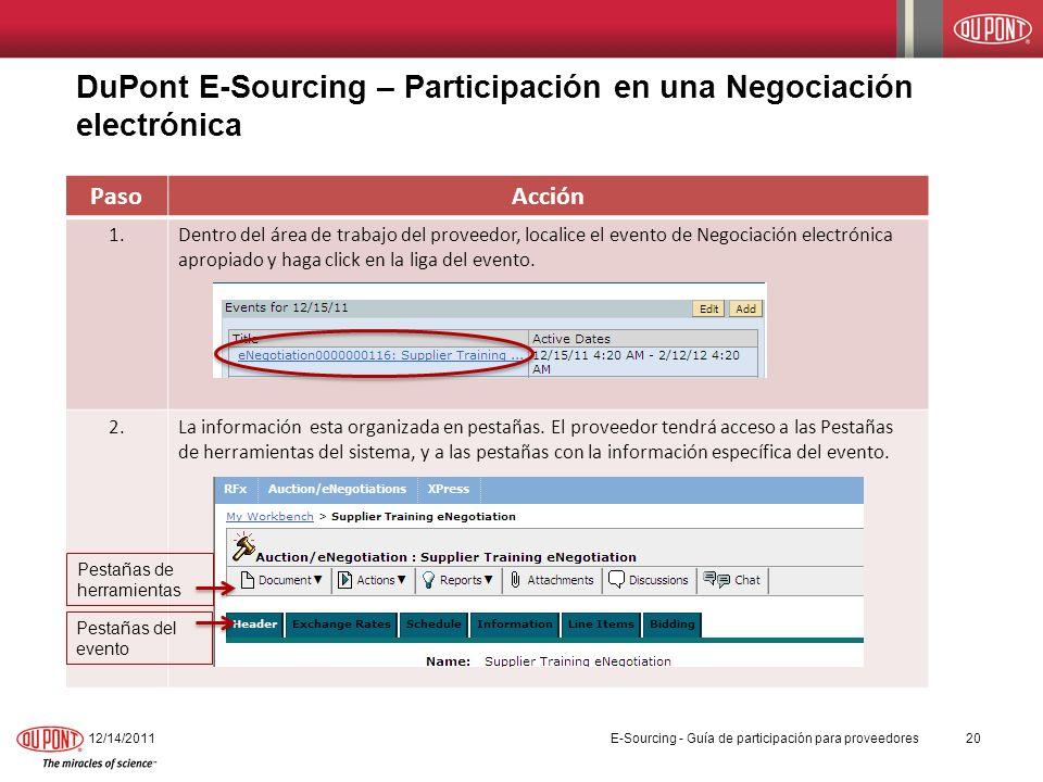 DuPont E-Sourcing – Participación en una Negociación electrónica