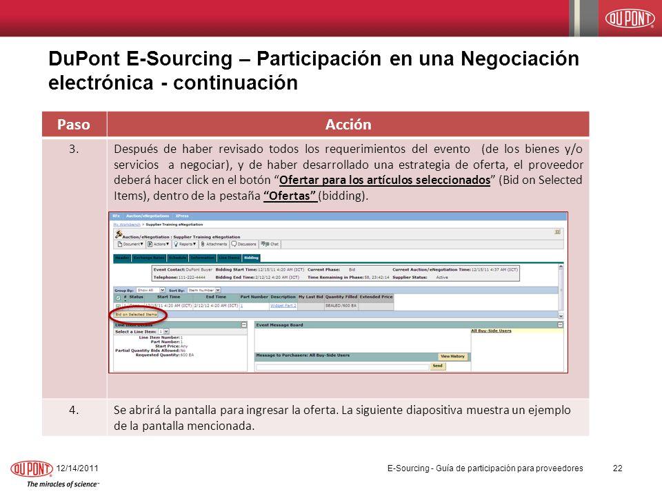 DuPont E-Sourcing – Participación en una Negociación electrónica - continuación