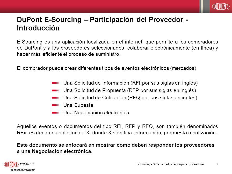 DuPont E-Sourcing – Participación del Proveedor - Introducción
