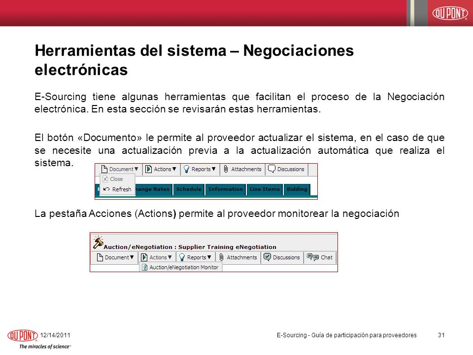 Herramientas del sistema – Negociaciones electrónicas