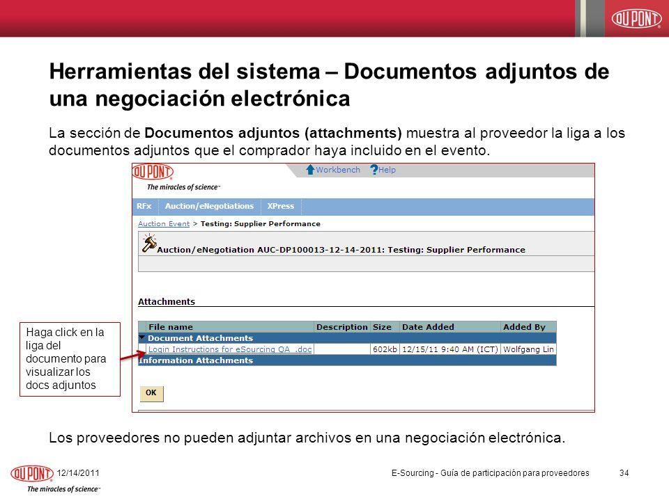 Herramientas del sistema – Documentos adjuntos de una negociación electrónica