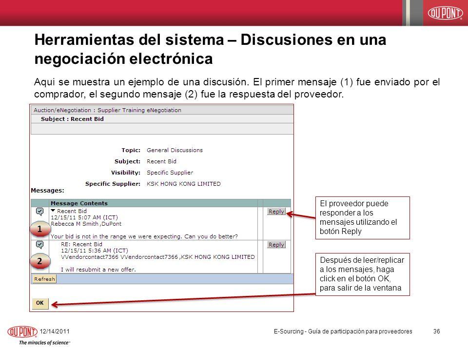 Herramientas del sistema – Discusiones en una negociación electrónica