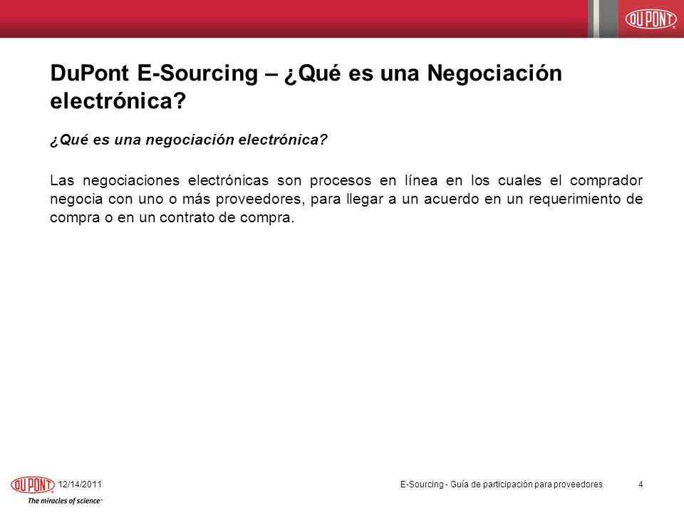 DuPont E-Sourcing – ¿Qué es una Negociación electrónica