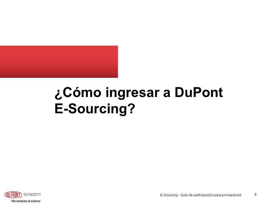 ¿Cómo ingresar a DuPont E-Sourcing