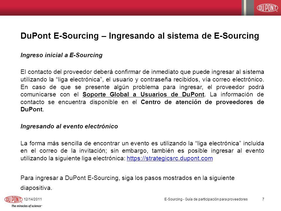 DuPont E-Sourcing – Ingresando al sistema de E-Sourcing
