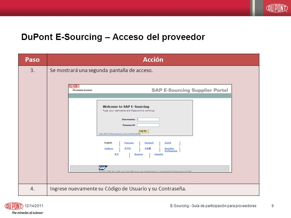 DuPont E-Sourcing – Acceso del proveedor