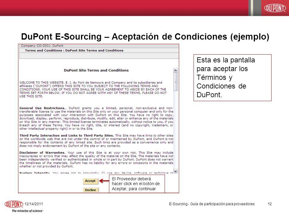DuPont E-Sourcing – Aceptación de Condiciones (ejemplo)
