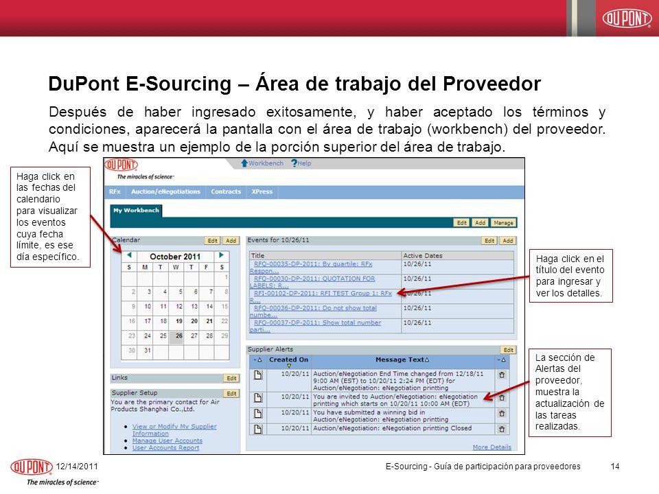 DuPont E-Sourcing – Área de trabajo del Proveedor