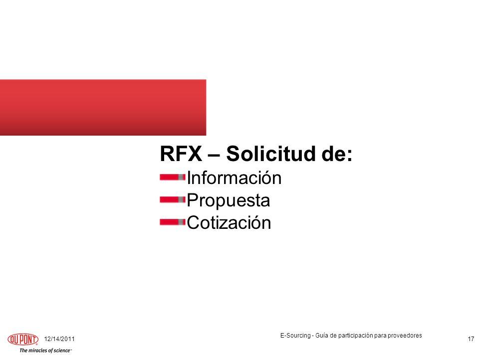 RFX – Solicitud de: Información Propuesta Cotización