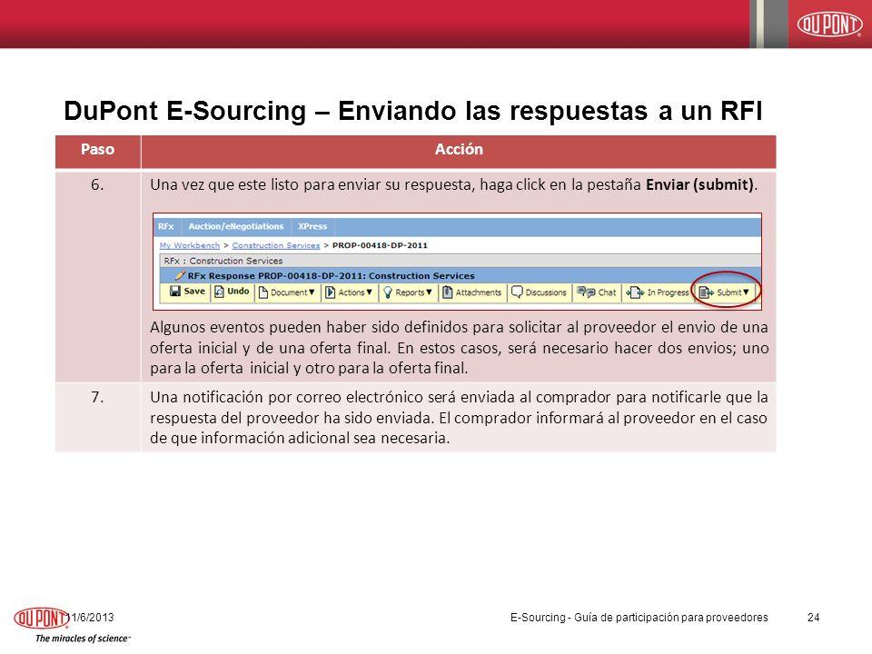 DuPont E-Sourcing – Enviando las respuestas a un RFI