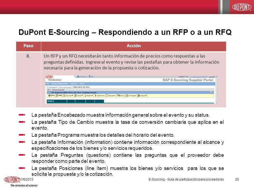 DuPont E-Sourcing – Respondiendo a un RFP o a un RFQ