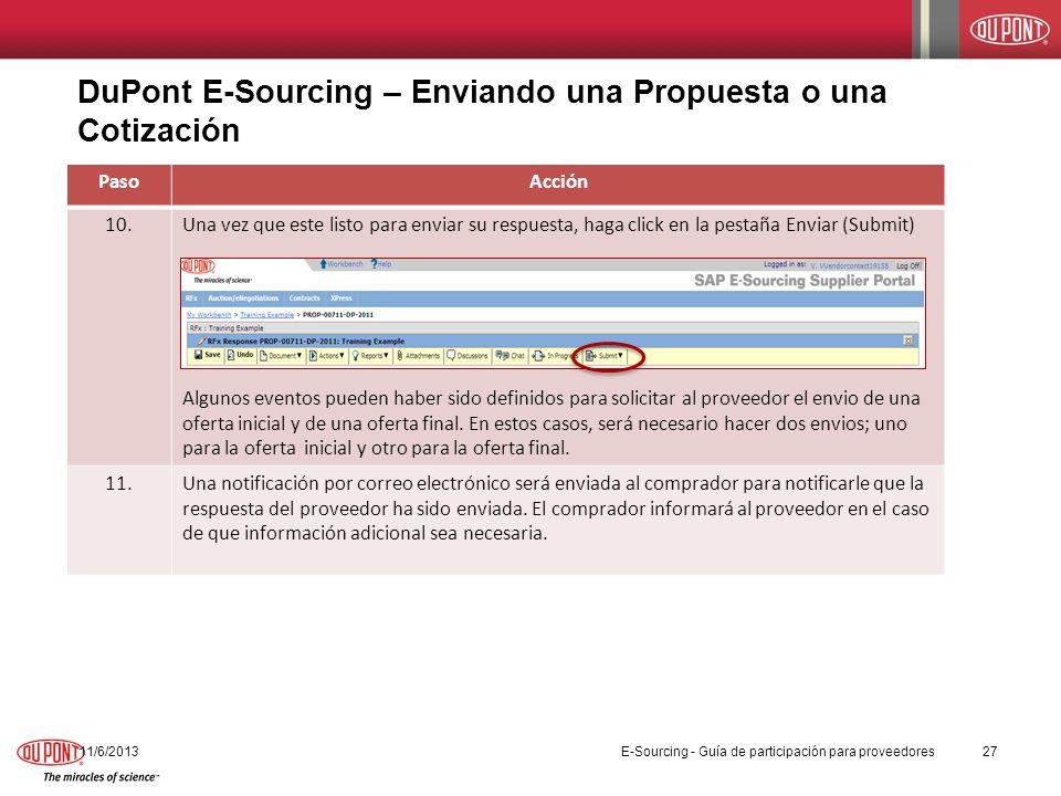 DuPont E-Sourcing – Enviando una Propuesta o una Cotización