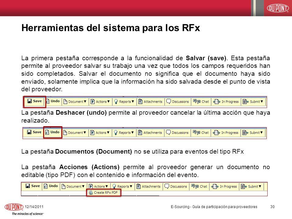 Herramientas del sistema para los RFx