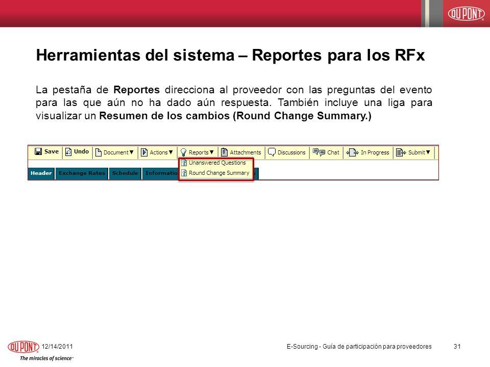 Herramientas del sistema – Reportes para los RFx