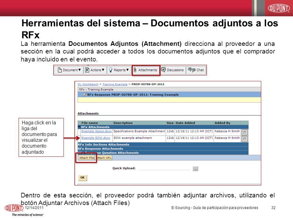 Herramientas del sistema – Documentos adjuntos a los RFx
