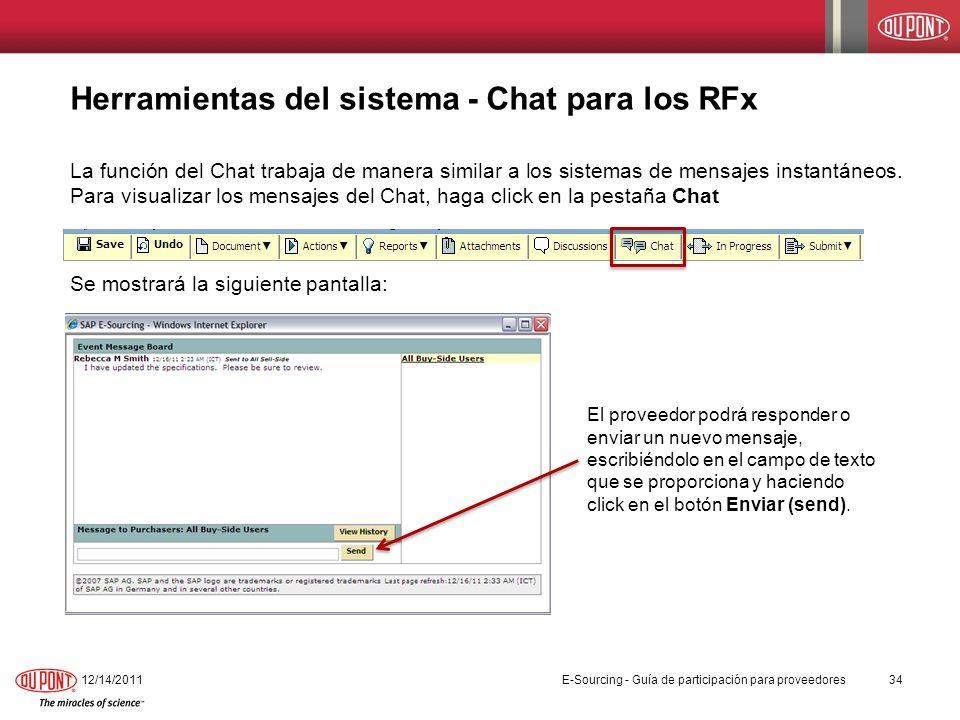 Herramientas del sistema - Chat para los RFx