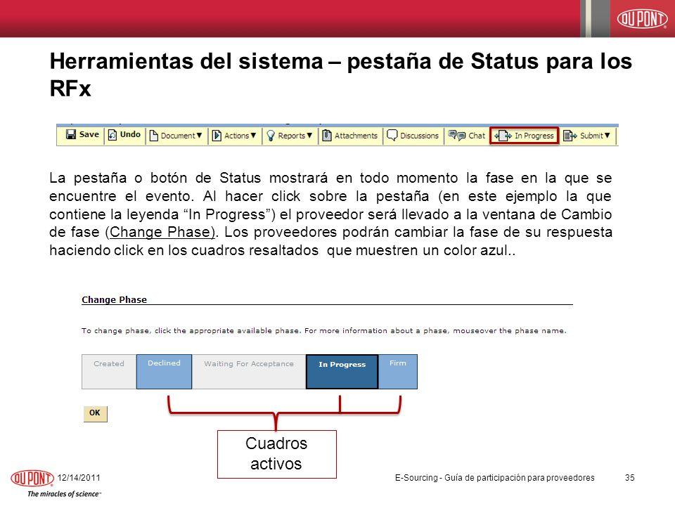 Herramientas del sistema – pestaña de Status para los RFx
