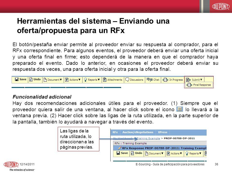 Herramientas del sistema – Enviando una oferta/propuesta para un RFx