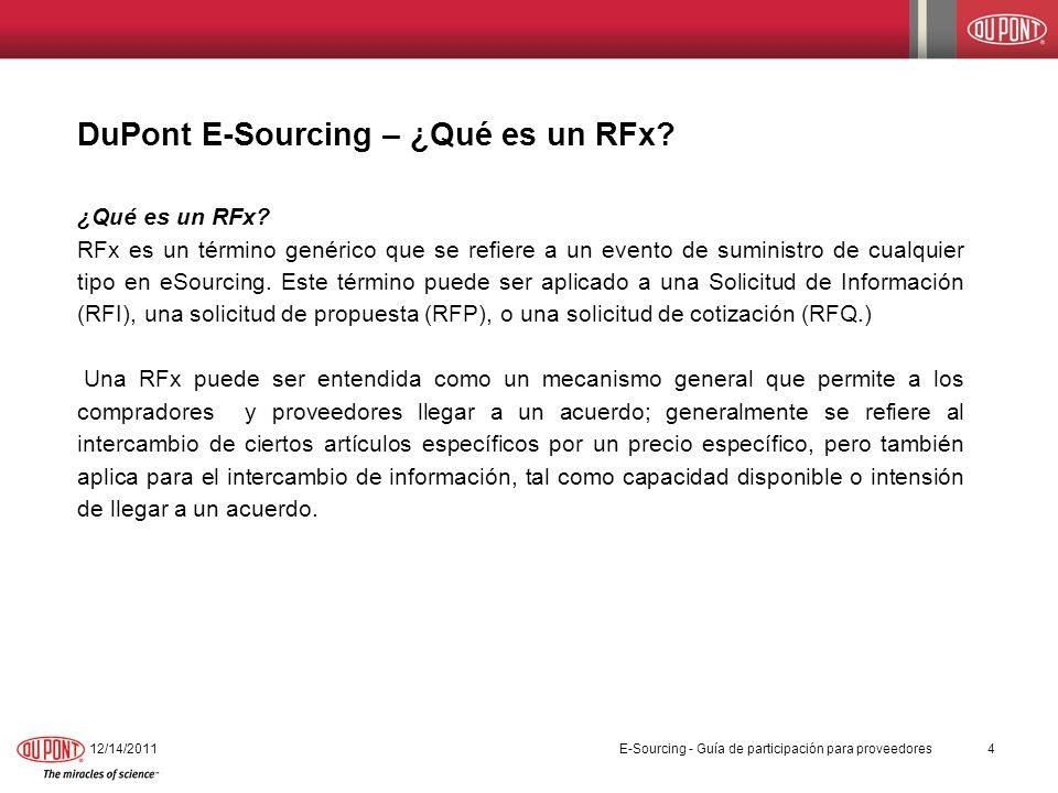 DuPont E-Sourcing – ¿Qué es un RFx