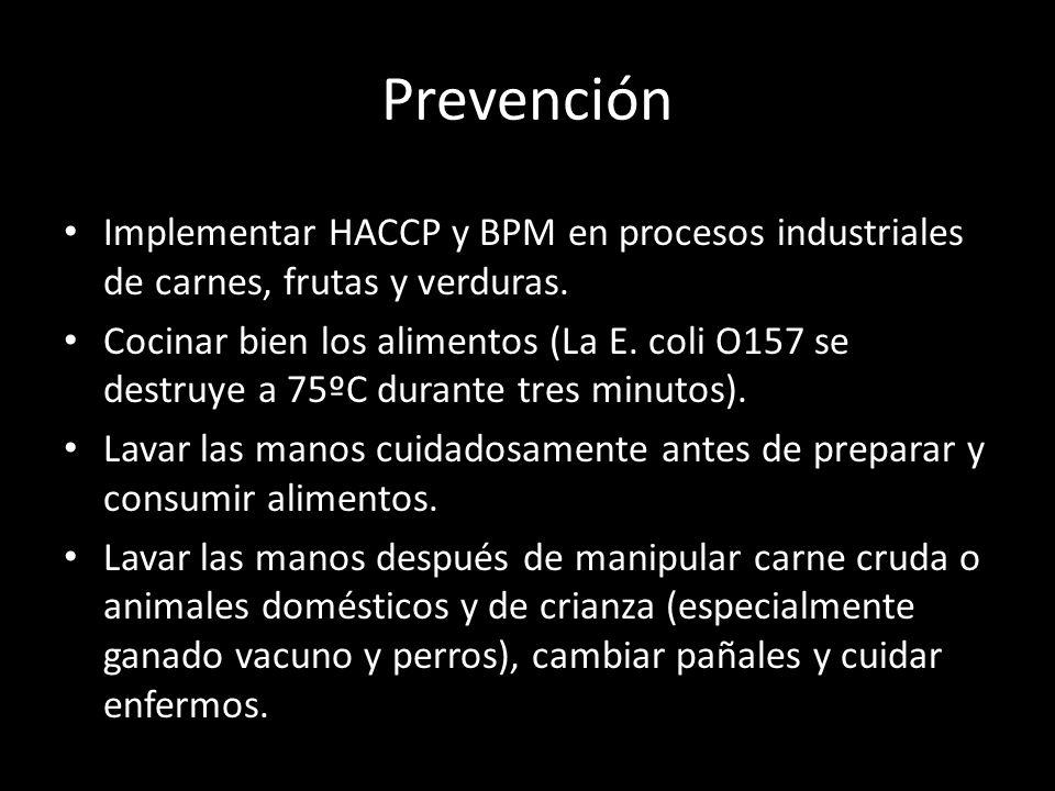 Prevención Implementar HACCP y BPM en procesos industriales de carnes, frutas y verduras.