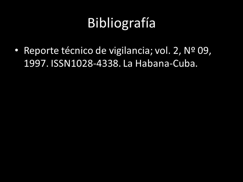 Bibliografía Reporte técnico de vigilancia; vol. 2, Nº 09, 1997. ISSN1028-4338. La Habana-Cuba.