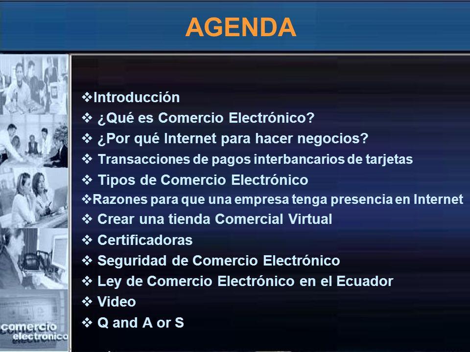 AGENDA Introducción ¿Qué es Comercio Electrónico