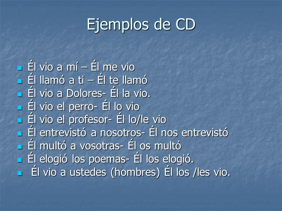 Ejemplos de CD Él vio a mí – Él me vio Él llamó a ti – Él te llamó