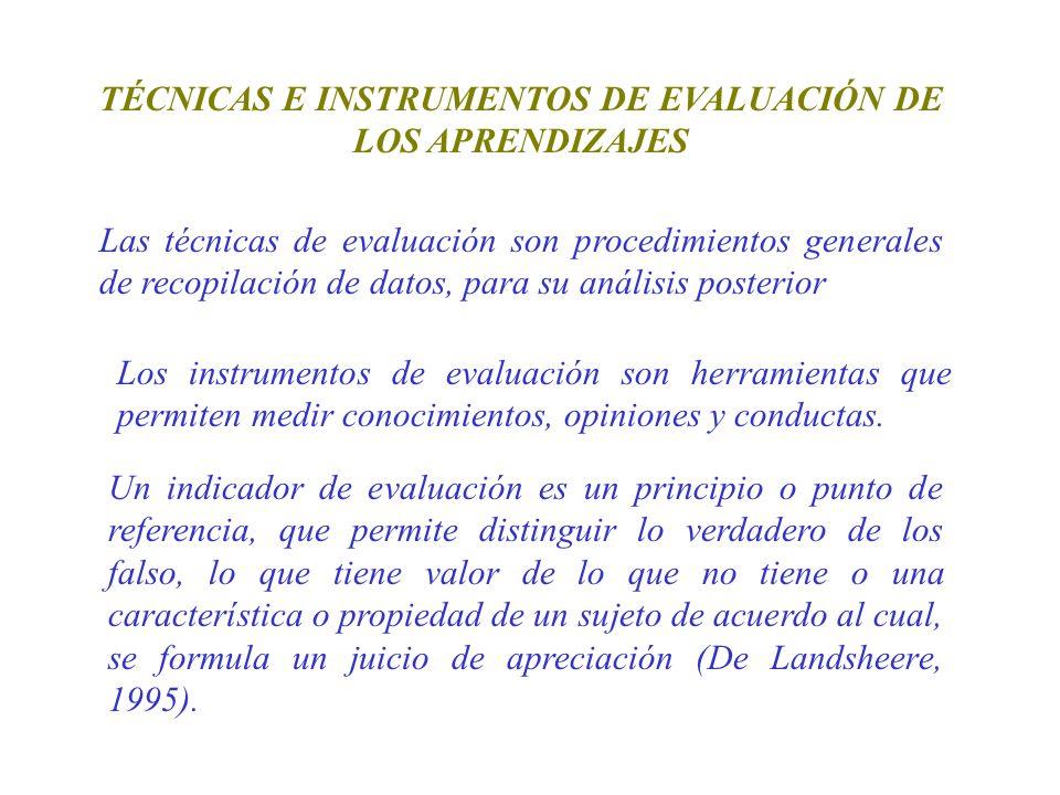 TÉCNICAS E INSTRUMENTOS DE EVALUACIÓN DE LOS APRENDIZAJES