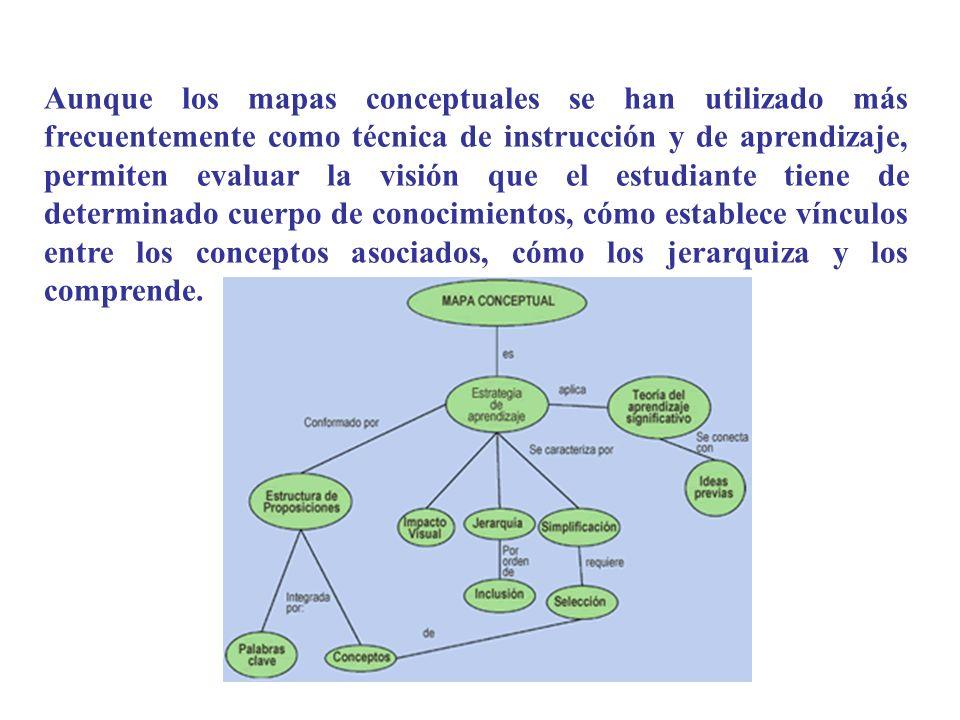 Aunque los mapas conceptuales se han utilizado más frecuentemente como técnica de instrucción y de aprendizaje, permiten evaluar la visión que el estudiante tiene de determinado cuerpo de conocimientos, cómo establece vínculos entre los conceptos asociados, cómo los jerarquiza y los comprende.