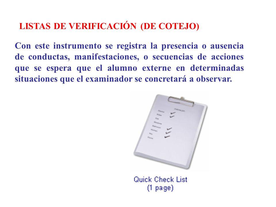 LISTAS DE VERIFICACIÓN (DE COTEJO)
