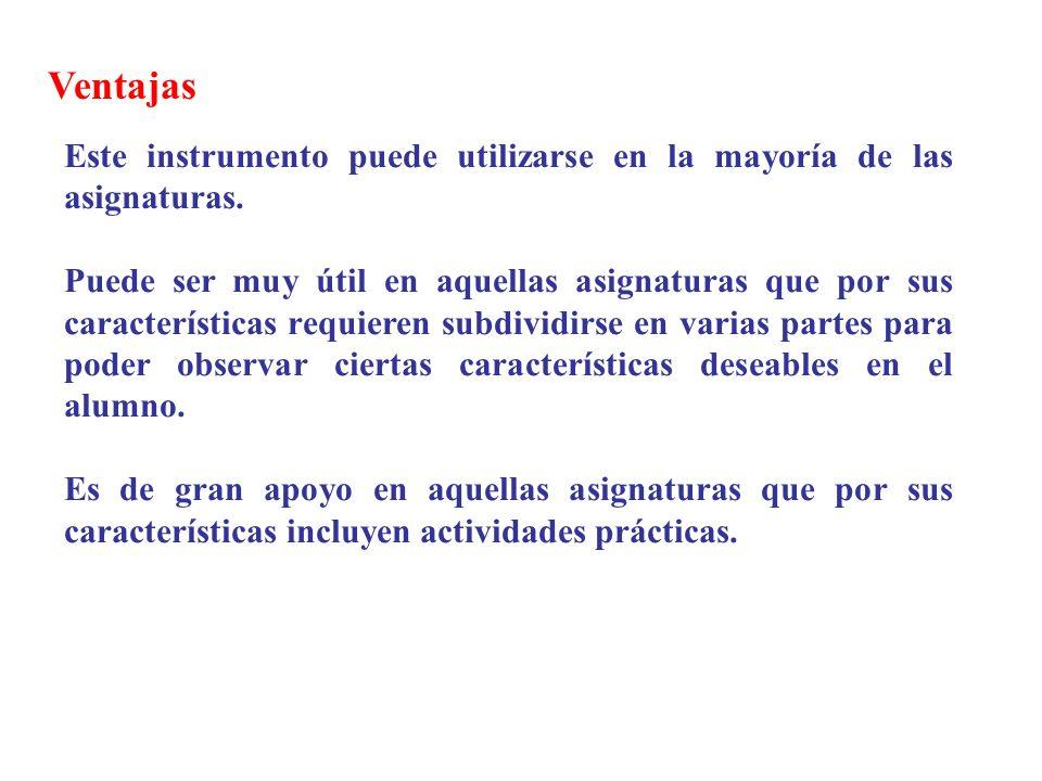 Ventajas Este instrumento puede utilizarse en la mayoría de las asignaturas.