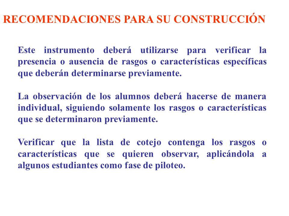 RECOMENDACIONES PARA SU CONSTRUCCIÓN