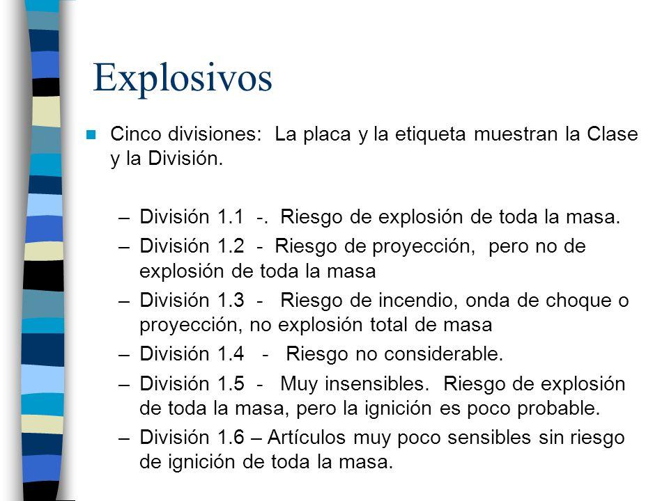 Explosivos Cinco divisiones: La placa y la etiqueta muestran la Clase y la División. División 1.1 -. Riesgo de explosión de toda la masa.