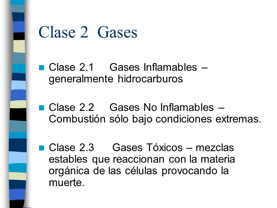 Clase 2 Gases Clase 2.1 Gases Inflamables – generalmente hidrocarburos