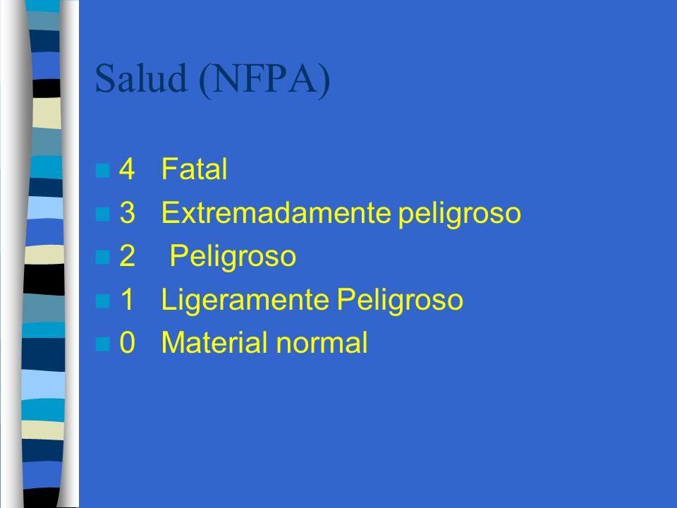 Salud (NFPA) 4 Fatal 3 Extremadamente peligroso 2 Peligroso