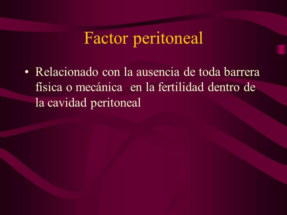 Factor peritoneal Relacionado con la ausencia de toda barrera física o mecánica en la fertilidad dentro de la cavidad peritoneal.