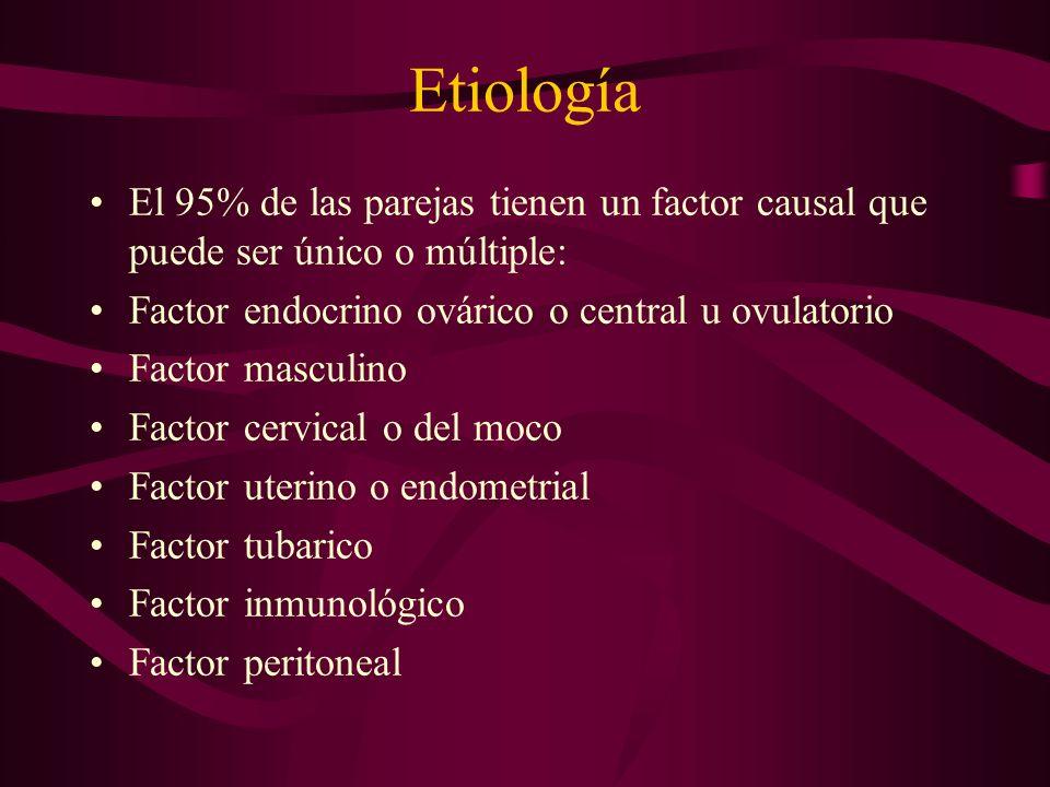 Etiología El 95% de las parejas tienen un factor causal que puede ser único o múltiple: Factor endocrino ovárico o central u ovulatorio.