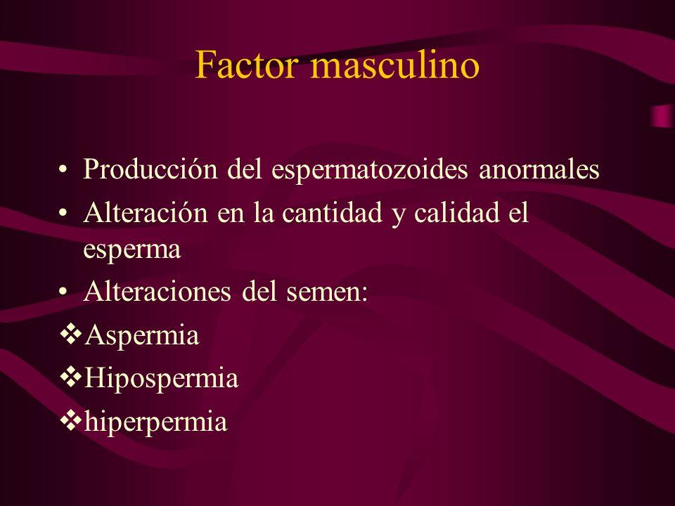 Factor masculino Producción del espermatozoides anormales